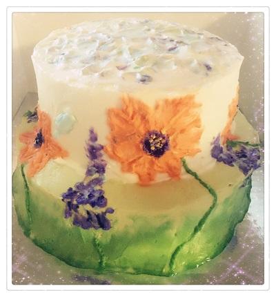 Custom Cake: Painted Flowers