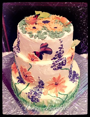 Wedding Cake: Butterfly Loves Flower