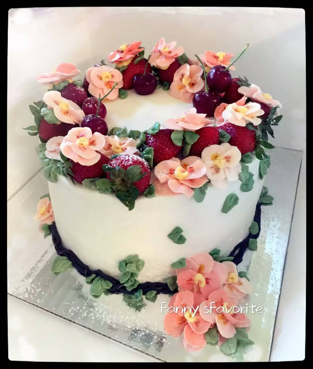 Custom Cake Best Summer Mix Flower And Fruit Fannys Favorite